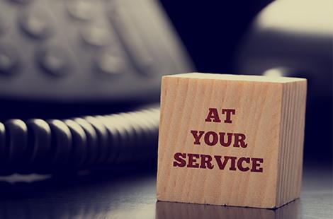 Text: at your service